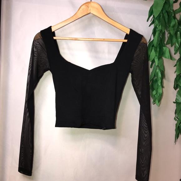 Black sweetheart long sleeve mesh crop top 🖤ASOS